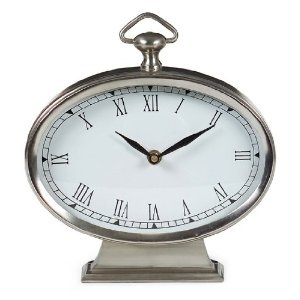 Oval Pewter Finish Desk Clock - IMAX