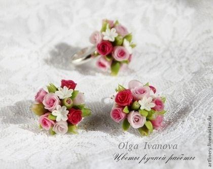 """Conjuntos de joyas hechas a mano.  Masters Feria - hecho a mano.  Comprar Conjunto de joyas de """"Adiós a las de Verano"""".  Hecho a mano.  Pendientes rosados"""