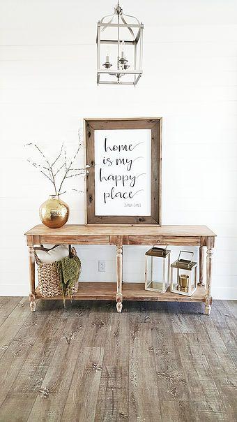 @whitelanedecor #whitelanedecor Everett Foyer table, entry table, lantern pendant in entry, shiplap entry, Home is my happy place sign, brushed brass accents, white wash wood floors.