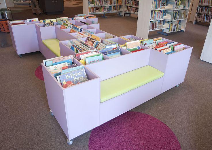 Eigen ontwerp van Vision Furniture: de prentenboekenbank op maat voor de jonge jeugd.