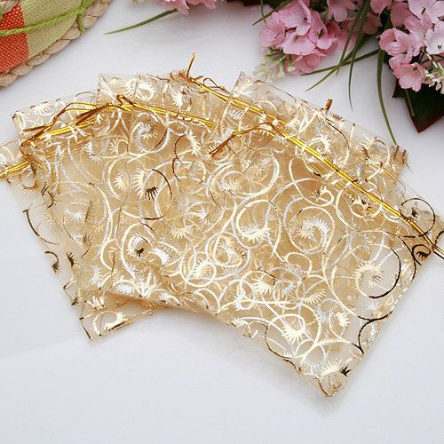100Pcs Champagne Color Organza Pouch Wedding Favor Gift Bags 9X11CM - US$6.16 - Banggood Mobile