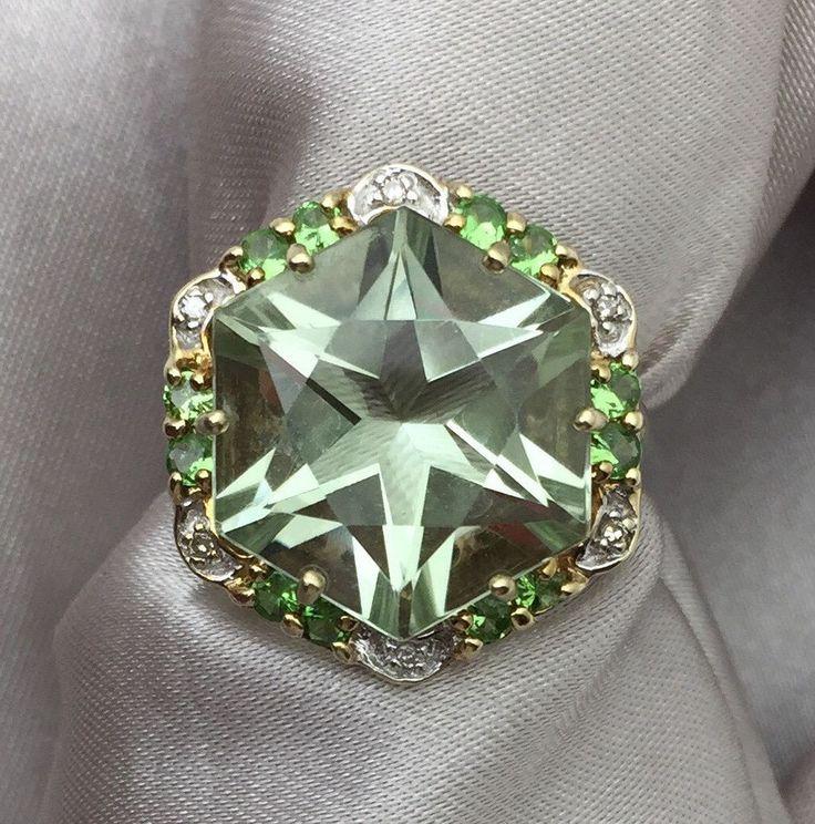 10k Yellow Gold Prasiolite Green Amethyst Peridot & Diamond Accent Ring #WithDiamondsGemstones