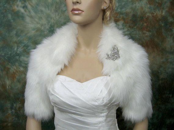 Sale Offwhite faux fur bolero jacket shrug Wrap by alexbridal