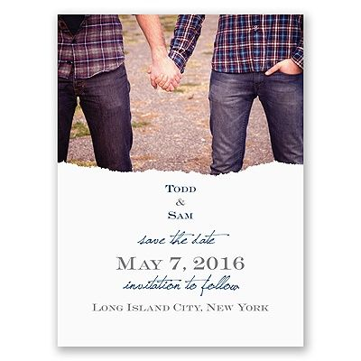 Show your pride in becoming 'Mister and Mister' by sending this save the date card printed with your photo and wording. Your wording is printed in your choice of colors and lettering styles. Includes outer envelopes. Perfect for same sex weddings. Make these into save the date magnets with just a simple upgrade in paper.