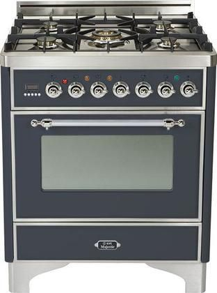 """UM-76-DMP-M-X 30"""" Majestic Series Freestanding Dual Fuel Range with 5 Sealed Burners 3.0 cu. ft. Primary Oven Capacity Convection Oven Warming Drawer Chrome Trim in Matte Graphite"""
