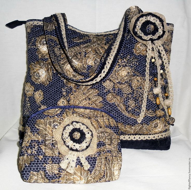 """Купить Стёганая сумка """" Кружева на синем"""" - темно-синий, цветочный, сумка для прогулок"""
