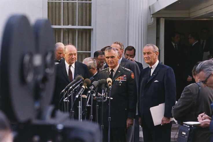 """nyprarchives: """"In 1967, General William Westmoreland delivered an optimistic report on the Vietnam War at the American Newspaper Publishers Association. Meanwhile, protesters outside burned him in..."""