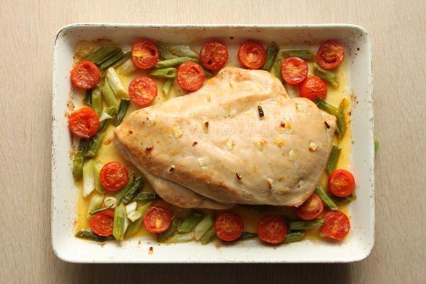 Stegt kalkunbryst med appelsinsovs, tomater og forårsløg | Roasted turkey breast with garlic and orange sauce