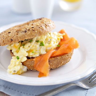 Scrambled Eggs With Smoked Salmon Bagels are quick and easy to make! This is the ultimate weekend breakfast treat. Get the recipe at Redonline.co.uk