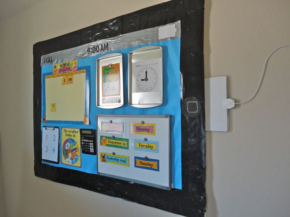 "iPad Bulletin Board Idea - great blog post with all the details about how to create an ""iTeach"" bulletin board"