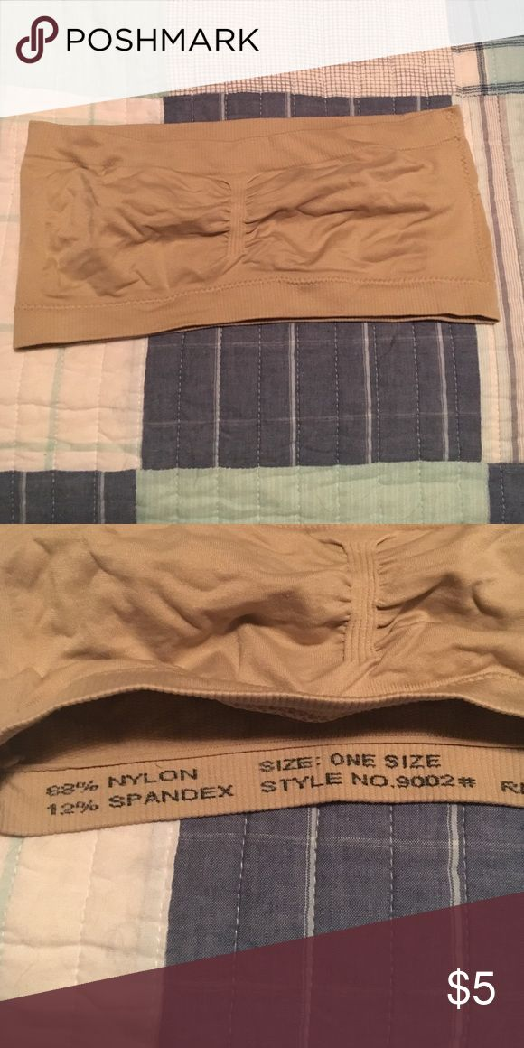"""Beige bandeau top Only worn once. One size. I am 33"""" bust and this fits a little tightly. Space for removable cups but cups are NOT included. Excellent condition. No rips or stains. Smoke free home. Intimates & Sleepwear Bandeaus"""
