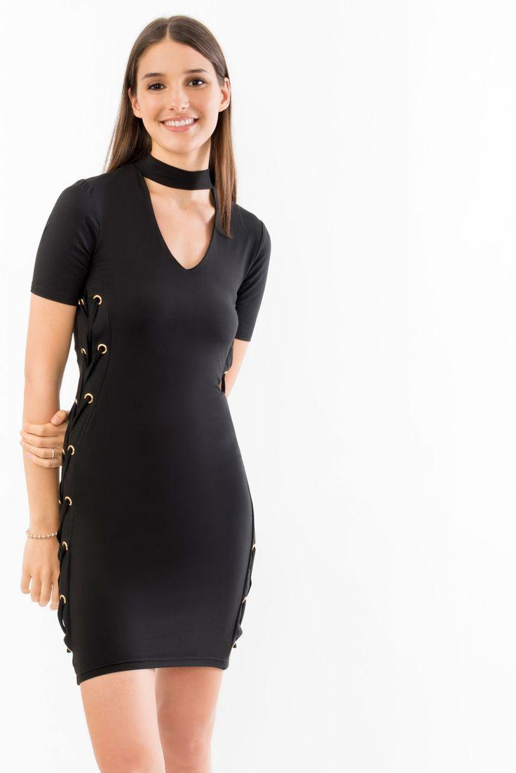Choker Dress with Cross Grommet Detailing