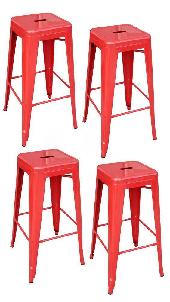 Superb Stackable Metal Bar Stool In Black (Set Of 4)