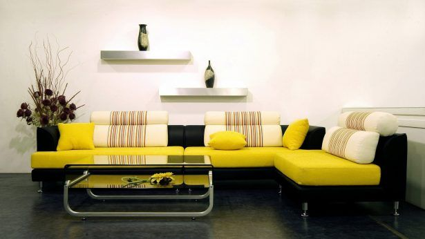 L Shape Yellow Modern Leather Sofa Metalic Shelveses Modern Glass Table Flower Vase White Wall Grey Floor 30 Sensational Living Room Decorating Ideas that Expand Space