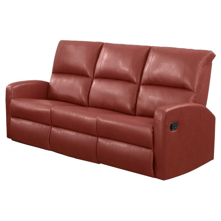 Bonded Leather Reclining Loveseat - Monarch Specialties