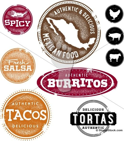Mexican Restaurant Menu Design Stamps