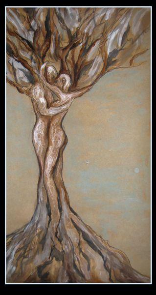 """Lone Tree"" by Cholena Drew Hughes Medium - Paint pen, watercolour, gouche, charcoal on card  Size - 55 x 30 cm"