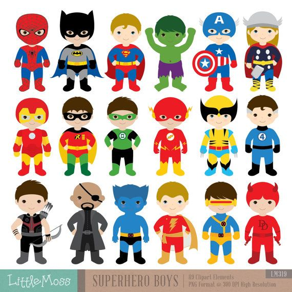 Superhéroe 18 muchachos Digital Imágenes por LittleMoss en Etsy
