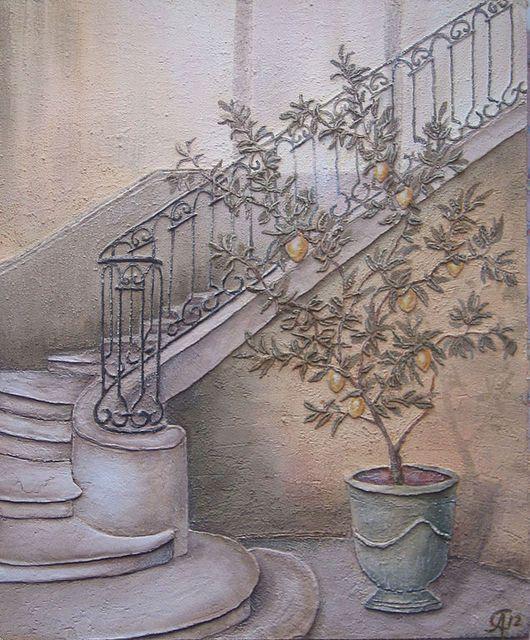 """Город ручной работы. Ярмарка Мастеров - ручная работа. Купить Фреска """"Лимонное дерево"""". Handmade. Фреска, лимонное дерево"""