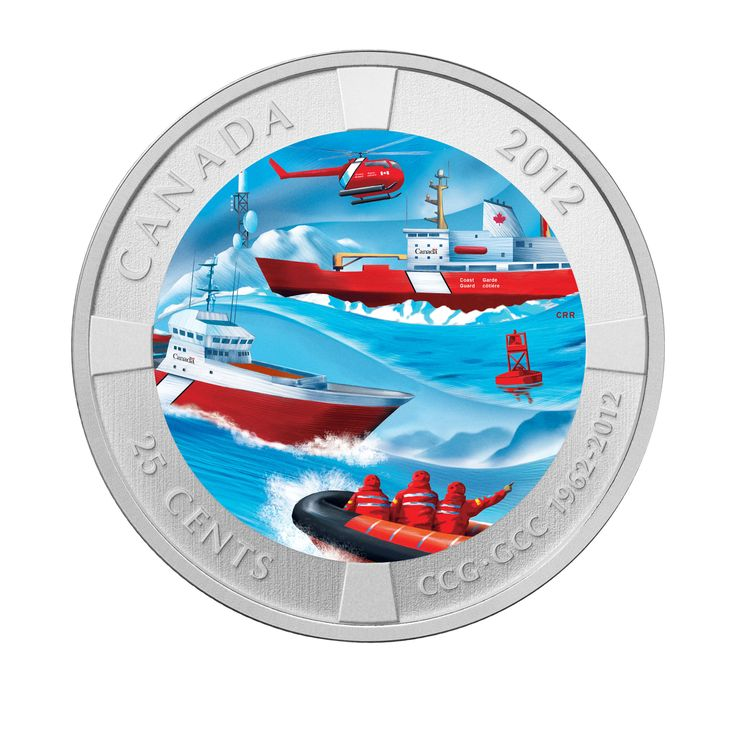 Coloured Coin - 50th Anniversary of the Canadian Coast Guard (2012)