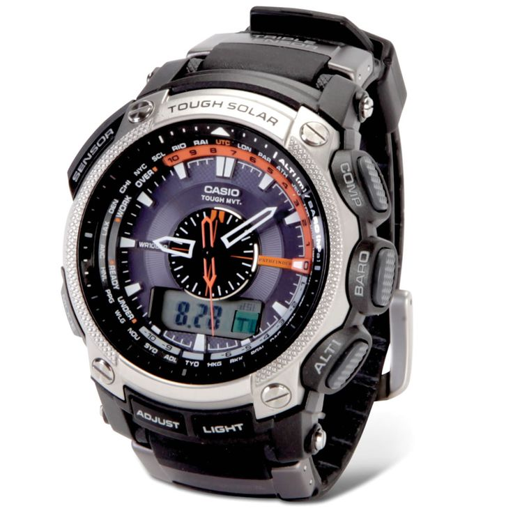 The Always Accurate Adventurometer - Hammacher Schlemmer - This is the men's watch that remains unerringly accurate via updates from the world's radio clock transmitters and keeps you constantly abreast of conditions while adventuring outdoors.