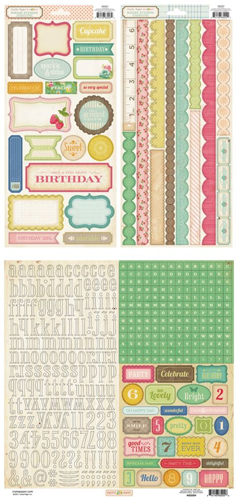 Crate Paper Pretty Party label/border/alpha stickers