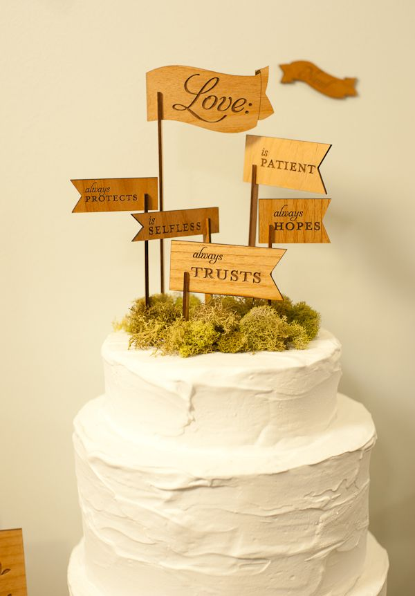 amazing wooden cake topper by Figs & Ginger