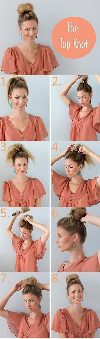 The Top Knot: just a high pony, teased like crazy, reloop the ponytail and polish it up
