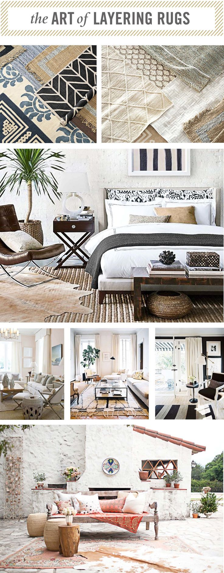 I am loving the layered rug look lately and there is definitely an art to it.  A good place to start out when layering rugs is a large natural sisal or  jute rug for your base and then you can layer a decorative piece on top of  that with some more pattern and color, but the sisal will give some good  texture.  I also like the look of the animal hides layered