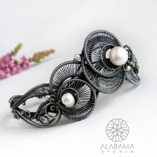 ALABAMA - Perłowe meduzy - srebrna bransoleta wire-wrapping  #wire_wrapping, #jewelry, #silver, #bracelet, #pearl, #alabama
