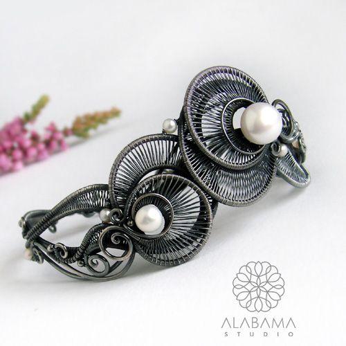 ALABAMA - Perłowe meduzy - srebrna bransoleta wire-wrapping  #wire_wrapping, #jewelry, #silver, #bracelet, #pearl, #alabama