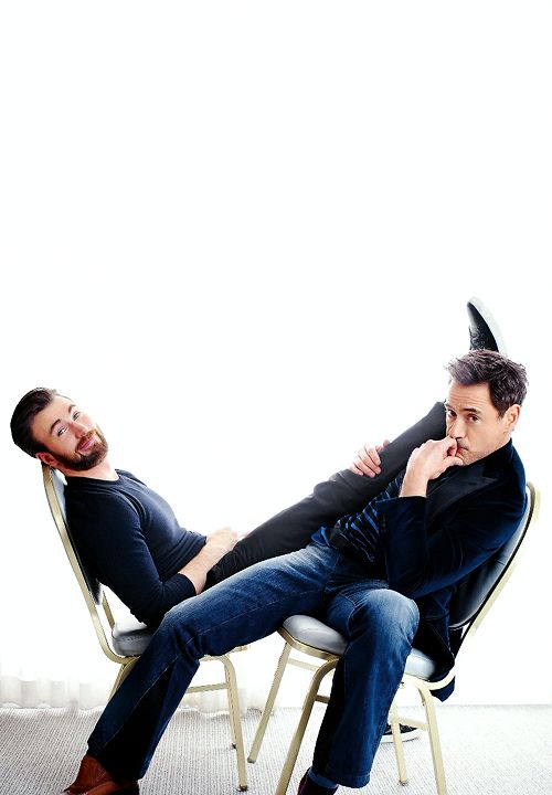 "theavengers: "" Chris Evans and Robert Downey Jr photographed by Robert Trachtenberg for People Magazine """