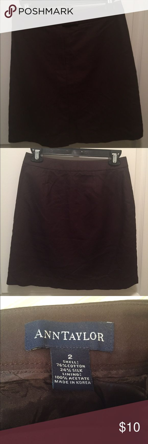 """ANN TAYLOR chocolate brown pencil skirt size 2 Cute brown pencil skirt. It's lined. Dry clean only. Chocolate brown color. Has a slight flap at the bottom of the skirt! Gently worn, in great condition! Waist lying flat is about 13"""". Length is about 18.5"""" Ann Taylor Skirts Pencil"""