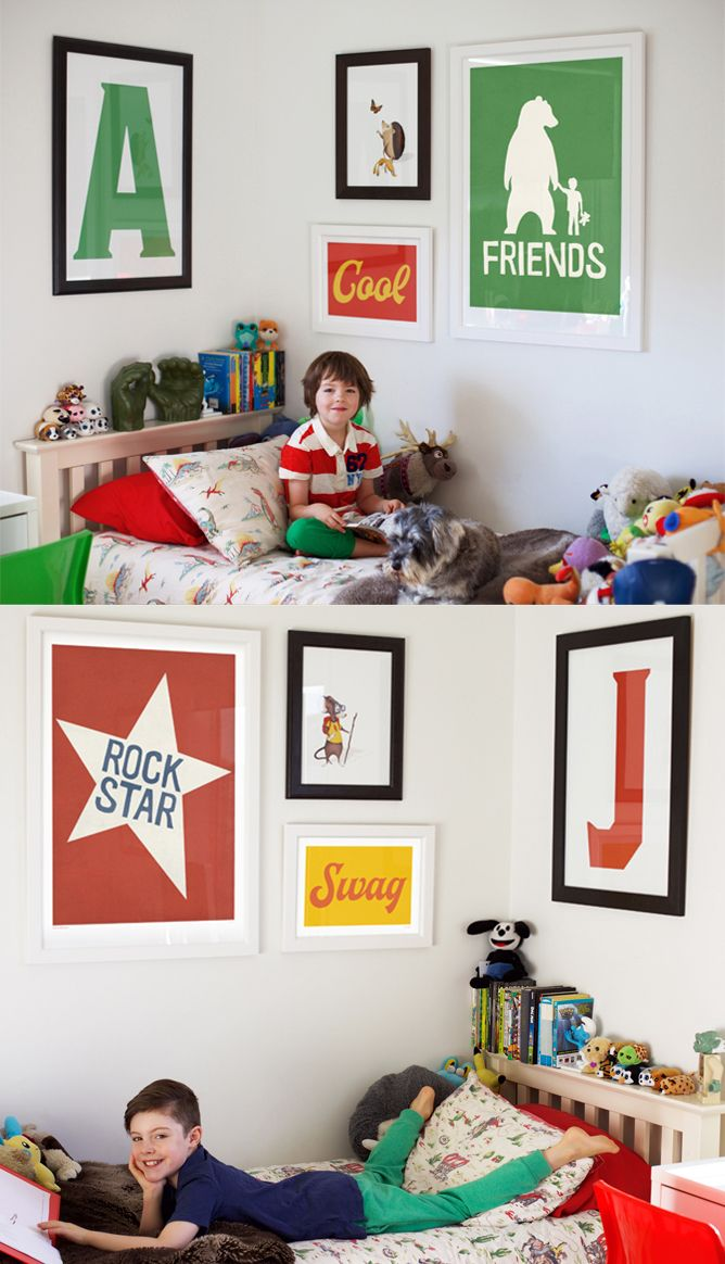 Shared room, gallery walls for kids! https://lucky-5.com/collections/kids-room