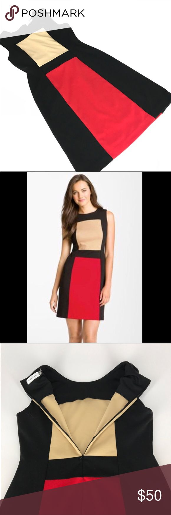 """Calvin Klein Color Block Dress Red, Black and Tan Beautiful dress by Calvin Klein size 6. This is an amazing Dress! Perfect for work or a night out! Comfortable fabric, darts at bust and a very flattering shape! No pilling. Excellent used condition.  Measurements: Length: 36"""" Pit to pit: 15.5"""" Waist: 15""""  Tiny spot on the tan square that buyer should be able to wash right out. Appeared during storage. Priced adjusted accordingly. Calvin Klein Dresses"""