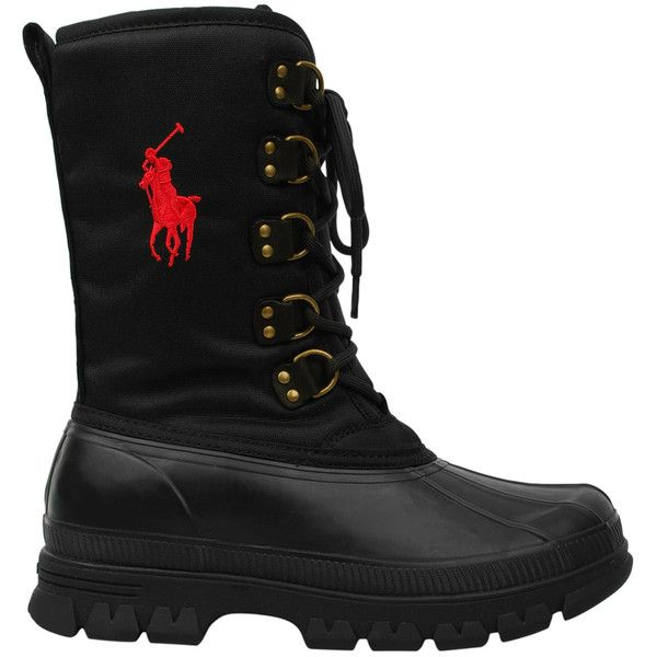 POLO RALPH LAUREN Side Logo Duck Boot ($71) ❤ liked on Polyvore featuring men's fashion, men's shoes, men's boots, boots, shoes, mens waterproof boots, mens lace up shoes, mens water proof boots, mens waterproof shoes and polo ralph lauren mens boots