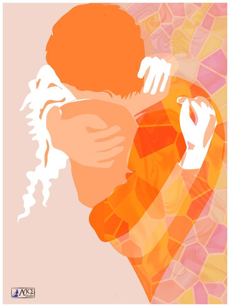 L'abbraccio, illustrazione digitale  www.alkestudio.it Facebook @alkestudiosalerno