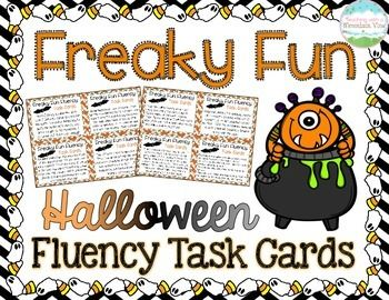 Halloween Fluency Task Cards { Short stories for Oral Reading Fluency Practice }! 32 HALLOWEEN Fluency Task Cards with varied sentence types to help your students practice their oral reading fluency! Perfect small group, whole group, or independent center fluency activity.$