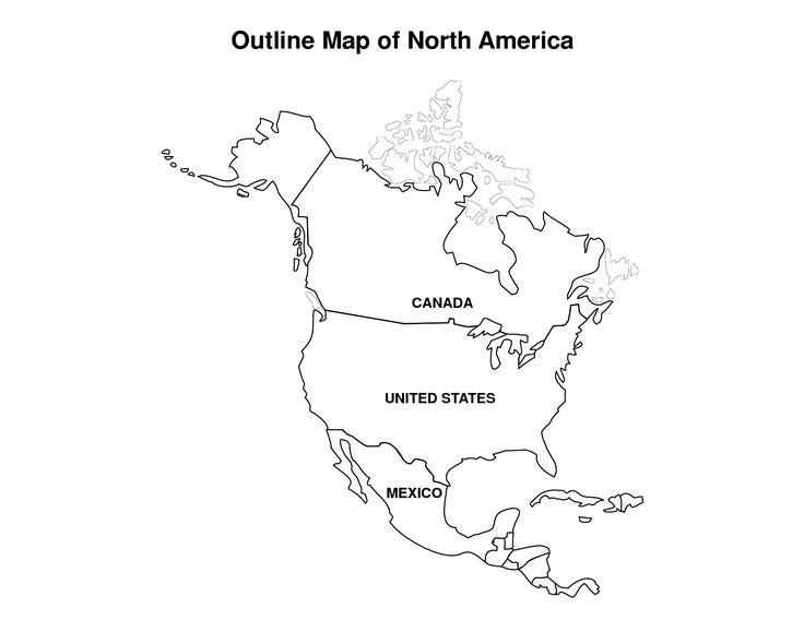 Printable Map of North America | pic Outline Map of North America