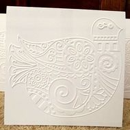 white embossed bird blank card for thank you, wedding acceptance,sympathy etc.