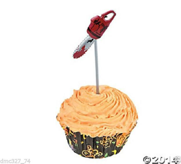 25 HALLOWEEN Zombie Party BLOODY CHAINSAW PICKS Food Cupcake Hors D'oeuvres #Party #Halloween