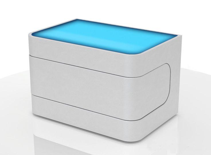 SAM® Nachtkommode Konsole in weiß mit LED Nako 88