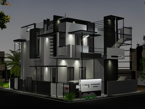 Night view of Front Elevation - Side View - for Puru's Independent Bungalow by Ashwin Architects in Bangalore.    Call (+91)-(80)-26612520 for more information or visit http://www.ashwinarchitects.com