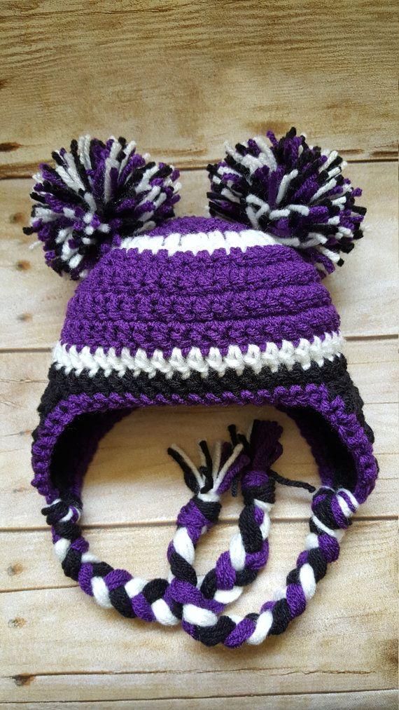 Crochet ravens hat - Baltimore Ravens hat - football team hat - team spirit hat - baby girl hat - pom pom hat - girl football hat
