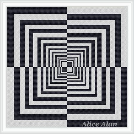 Cross Stitch Pattern Abstract with optical effect illusion portal (style minimalism) Counted Cross Stitch Pattern/Instant Download Epattern