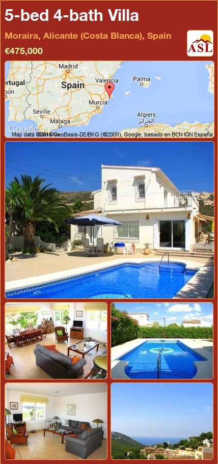 5-bed 4-bath Villa in Moraira, Alicante (Costa Blanca), Spain ►€475,000 #PropertyForSaleInSpain