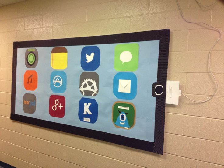 Bulletin board made into an iPad. Got the idea from Pinterest. This is my final outcome.