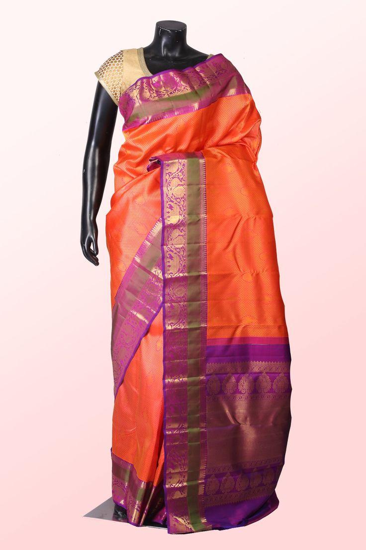 Pure #kanchipuram #silk #orange #radiant #saree with multicoloured #border -SR10248 #elegant #beautiful #stunning #attractive #striking #dazzling #lovely #exquisite #adorable #modish #women #ethnic #collection