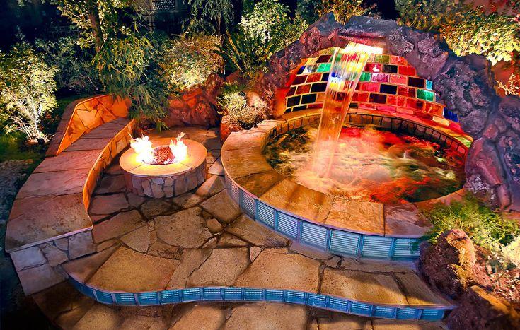 Backyard Spa, Rainbow Spa, Fire Pit
