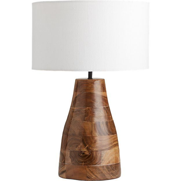 Colby Lacquered Wood Base Table Lamp Acaia Wood W Lacquer Finish White Drum Shade Contemporary Modern Dining Table Contemporary Lamps Natural Home Decor